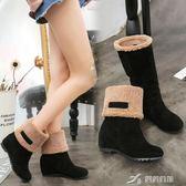 加絨二穿內增高短靴女秋季新款女靴子中筒靴中跟棉靴女鞋   樂芙美鞋