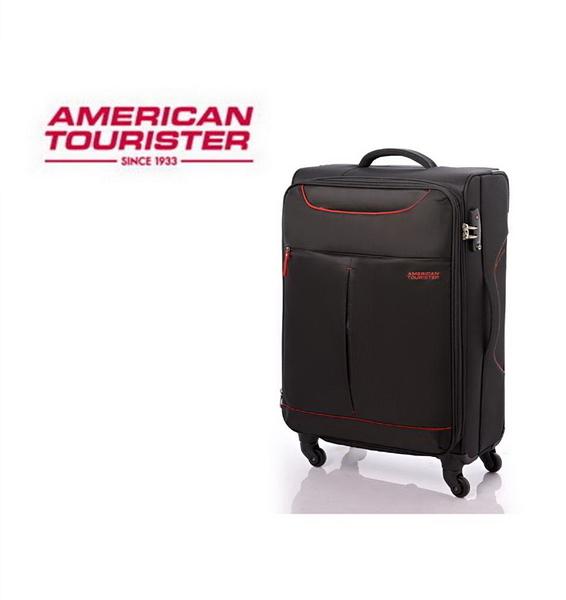 AT美國旅行者 Sky商務休閒可擴充布面 登機箱/旅行箱-20吋(黑/紅) 25R