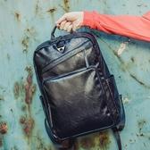 男士後背包 時尚男士背包韓版皮質雙肩包男復古潮流15.6寸商務電腦包書包男包 【米家科技】