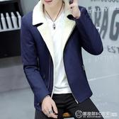 青少年冬季加絨加厚休閒西服男韓版修身型小西裝男士潮流上衣外套  圖拉斯3C百貨