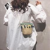 流蘇包草編包包女包編織民族風流蘇水桶包休閒個性單肩斜挎包潮【全館免運】