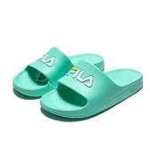 FILA (偏小建議大一號) 基本款 蘋果綠 白 LOGO 膠拖 防水 拖鞋 女 (布魯克林) 4S355R666
