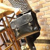 男士公文包   韓版復古箱型公文包休閒包單肩斜挎包手提包 『歐韓流行館』