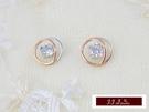 585K(14K)金 義大利進口  14K 白K金 玫瑰金, 時尚簡約 搭配蘇聯美鑽 耳釘 耳環