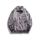 麂皮絨外套-翻領簡約寬鬆休閒灰色男夾克73zj48【巴黎精品】