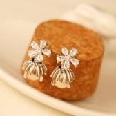 耳環 玫瑰金純銀鑲鑽-魅力花朵生日情人節禮物女飾品2色73ca199【時尚巴黎】