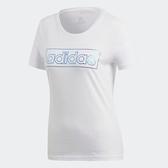 Adidas FOIL LINEAR [DN8797] 女 運動 休閒 圓領 短袖 上衣 舒適 棉T 反光 愛迪達 白