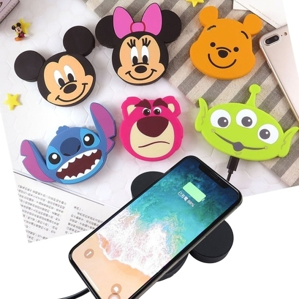 【Disney正版】 迪士尼可愛大頭QI無線充電板 米奇 米妮 維尼 三眼怪 史迪奇 熊抱哥 充電座/充電盤
