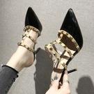 高跟鞋.歐美帥氣鉚釘拚色細跟拖鞋.白鳥麗子