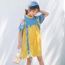 女童夏季連衣裙 舒適拼接連身裙 韓版荷葉邊長裙 清新女童洋裝 甜美可愛公主裙 中大童裝沙灘裙