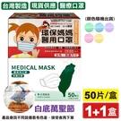 環保媽媽(女性/孩童)平面醫療口罩(顏色隨機)50入+丰荷 兒童醫療口罩(白底萬聖節)50入