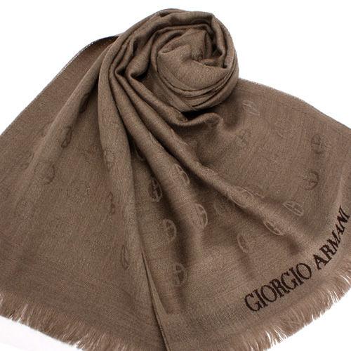 GIORGIO ARMANI羔羊毛雙G LOGO刺繡圍巾(卡其色)084061-2