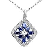 藍寶石項鍊925純銀墜子-0.3克拉生日情人節禮物方形鑲鑽女飾品53sa33【巴黎精品】
