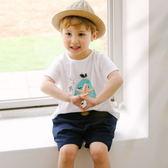 短袖上衣 韓國 Bebezoo 圓領短袖上衣 棉T T恤 - 白底水藍三角形 BE18-M-TS104-WH