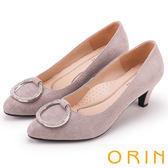 ORIN 典雅名媛 壓紋羊皮鑽飾吊墜圓尖高跟鞋-灰色