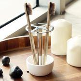 牙刷架不銹鋼牙刷架免打孔牙刷座創意筆筒刀叉筷子收納架 夢藝家