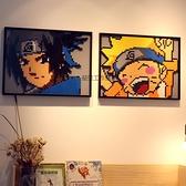 兼容樂高火影忍者鳴人佐助拼插積木畫走廊客廳裝飾像素畫男女孩 初色家居館