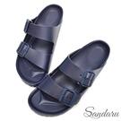 防水鞋 雨鞋 親膚舒適輕量雙扣拖鞋-藍