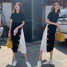 孕婦裝 MIMI別走【P521196】微光時刻 側排釦拼接雪紡連身裙 孕婦洋裝