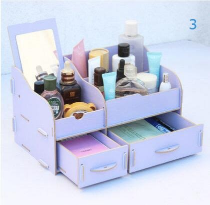 藍格子抽屜式帶鏡子木質桌面收納盒 創意化妝品收納盒 整理盒收納