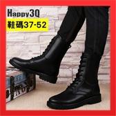 真皮軍靴馬丁靴中筒靴綁帶靴學潮男百搭基本款大尺碼鞋大尺碼男鞋US14-黑37-52【AAA2527】預購