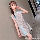女童旗袍開衩洋裝/連身裙夏裝2021新款女孩格子裙子夏季兒童唐裝 快速出貨