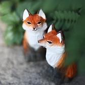鹿妖商店 紅狐貍 手工木雕 實木狐貍雕塑擺件 北歐風 九尾狐