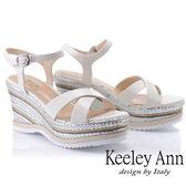★2019春夏★Keeley Ann全真皮 編織撞色交叉楔型涼鞋(白色) -Ann系列