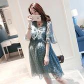 孕婦裝夏裝套裝時尚款2018新款寬鬆雪紡孕婦