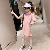 儿童裙子 女童polo裙夏季新款洋氣小學生連身裙中大童韓版休閑T恤裙潮8