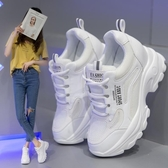 老爹女鞋子2021秋冬季新款ins潮8CM百搭單鞋休閒運動內增高小白鞋 百分百