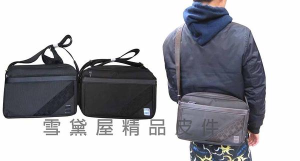 ~雪黛屋~STATE-POL 肩側包防水尼龍布+皮革可放電腦保護二層主袋隨身物品專用包外出014-1344