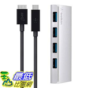 [8美國直購] 集線器 Belkin F4U088tt USB-IF Certified USB 3.0 4-Port Hub with 1-Meter USB Type C (USB-C) to Micro-B Cable
