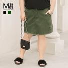 Miss38-(現貨)【A04523】大尺碼短裙 牛仔裙 顯瘦黑色&休閒軍綠 口袋 毛邊 鬆緊腰 百搭-中大尺碼女裝