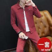 西服套裝男士時尚韓版條紋小西裝修身翻領西裝理發師帥氣一套衣服 QG14411『Bad boy時尚』