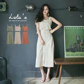 LULUS-E兩件式-素面無袖上衣+排釦長裙-3色  現+預【01121028】