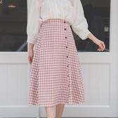 MUMU【P67191】鬆緊腰假排扣格紋半身裙。紅/黑