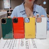 🍏 iPhone11ProMax 蘋果手機殼 可掛繩 電鍍金框 紅白綠黃 矽膠軟殼 iX/i8/i7/i6s