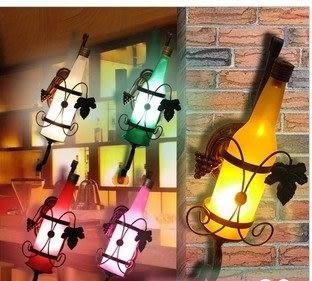 設計師美術精品館正品 現代簡約歐式田園復古啤酒瓶壁燈\LED過道燈\創意臥室床頭燈