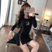 VK精品服飾 韓系重工圓領刺繡朋克個性單排釦長袖洋裝