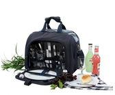 野餐包 含2人餐具組-藍色手提輕便優雅戶外踏青野炊肩背手提包68ag14[時尚巴黎]