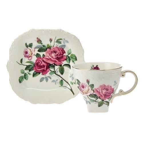 日本【英蘭玫瑰 English Rose】咖啡杯盤組