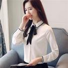 VK精品服飾 韓系雪紡襯衫系帶白襯衣氣質...
