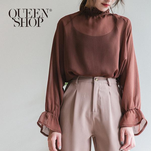 Queen Shop【01096358】荷葉小高領雪紡上衣 兩色售*現+預*