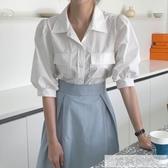 2020夏季新款韓國泡泡袖襯衫 半身裙法式復古套裝女兩件套  韓慕精品