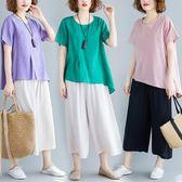 夏季新款寬鬆中大尺碼女裝棉麻上衣 闊腿褲兩件套