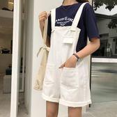 韓國2018夏季新款寬松顯瘦水洗牛仔短褲女休閑百搭純色吊帶闊腿褲「櫻桃」