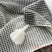 華夫格針織毯仿羊絨北歐沙發毯辦室流蘇床尾搭毯子【聚可愛】