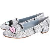 Chiara Ferragni Flirting 刺繡眨眼唇亮片樂福鞋(銀色) 1710935-30