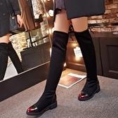 真皮過膝靴-時尚擦色圓頭內增高低跟女長靴2色73iv8【時尚巴黎】